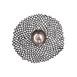 Round Placemat | Vinyl Dahlia | Black