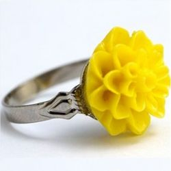 Dahlia Flower Ring Yellow
