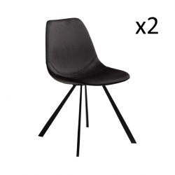 Set of 2 Chairs Pitch Velvet | Meteorite Black