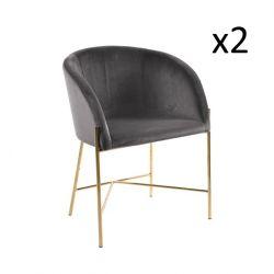 Stühle Nel 2er-Satz | Dunkelgrau / Gold