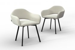 Set Of 2 Chairs Oldenburg | Cream-Velvet Touch