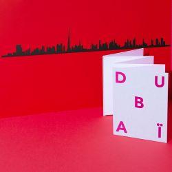 Wanddekoration Dubai Skyline Groß | Schwarz