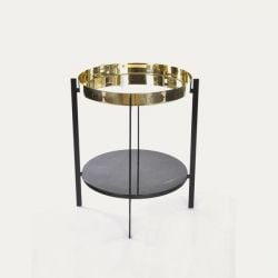 Side Table Deck | Brass & Marquino