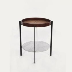 Side Table Deck | Cognac & Carrara