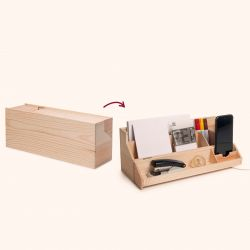 2-in-1 Wine Storage Box & Desktop Organiser Desk Topper