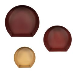 Wall Shelf Set Triana 222 | Dark Red - Bordeaux - Gold