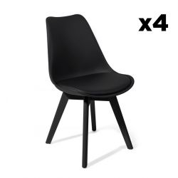 Set of 4 | Chair Kiki with Adjustable Feet | Black