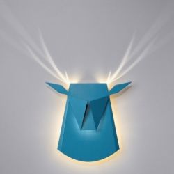 Wall Light Deer Head | Aluminium | Blue