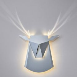 Wall Light Deer Head | Aluminium | Silver