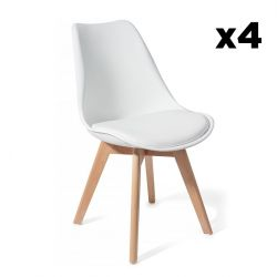Set of 4 | Chair Wood Kiki | White