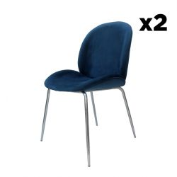 Chair Lisa Set of 2 | Blue / Chrome