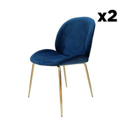 Chaise Lisa Set de 2 | Bleu / Laiton