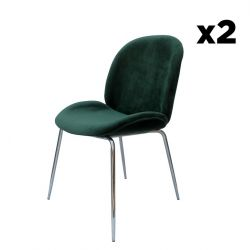 Chair Lisa Set of 2 | Green / Chrome