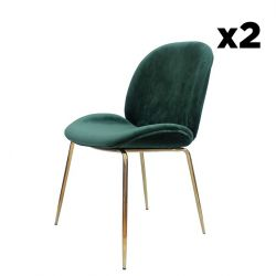 Chair Lisa Set of 2 | Green / Messing