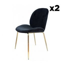 Chaise Lisa Set de 2 | Noir / Laiton