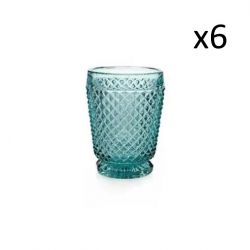 Glas-Diamanten 6er-Set | Blau