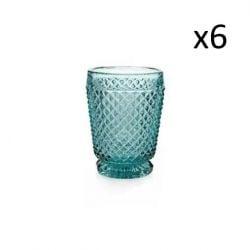 Glas Diamant Set van 6 | Blauw