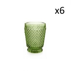 Glas-Diamanten 6er-Set | Grün