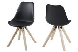 Chairs Nida Set of 2 | Black + Black Cushion