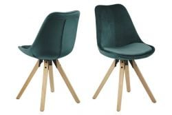 Set of 2 Chairs Nida | Bottle Green & Wood