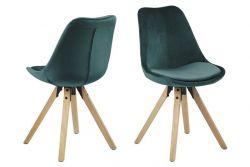 Chairs Nida | Set of 2 | Bottle Green & Wood