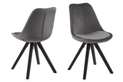 Stühle Nida 2er-Satz | Grau + Schwarze Beine