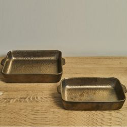 Oven Tray Rectangular | Gold-Hammered