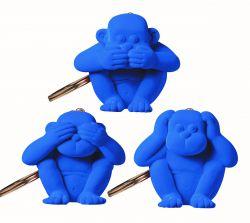Schlüsselanhänger-Affe 3er-Set | Blau