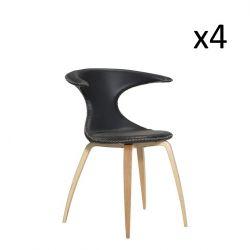 Chaise Flair | Cuir noir et pieds en placage de chêne | Lot de 4