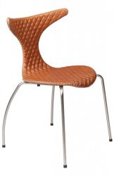 Chair Dolphin Leather Quilted | Light Brown & Matt Legs