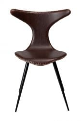 Chair Dolphin | Vintage Cocoa Brown PU Leather & Black Legs