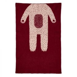 Bear Mini Blanket | Burgundy