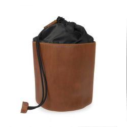 Wash Bag Leather with Drawstring | Brown