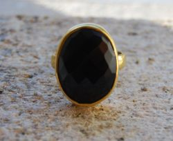 Black Oval Onyx Ring