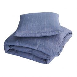 Vili Duvet + Square Pillow Cases | Blue Grid