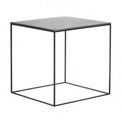 MoonSquare Side Table | Black Steel Frame / Grey Table Top