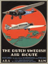 Poster Dutch Swedish Air Route | 30 x 40 cm
