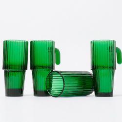 Lange Trinkgläser Saguaro | 4er-Set | Grün