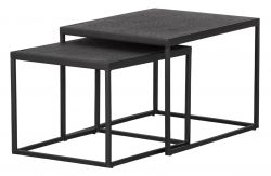 Set of 2 Outdoor Coffee Tables Febe | Black