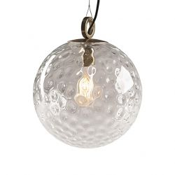 Glas Pendelleuchte Reflection Globe 300 mit Ring   Gold-Transparent