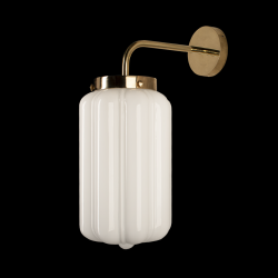 Glass Wall Lamp Opaline Deco | White-Gold