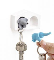 Schlüsselanhänger Elefanten-Duo | Blau-Grau