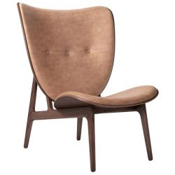 Armchair Elephant | Leather Seat | Dark Stained Frame | Brown