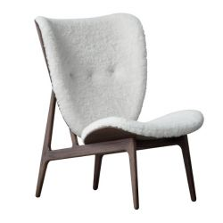 Armchair Elephant | Sheepskin Seat | Dark Stained Frame | White