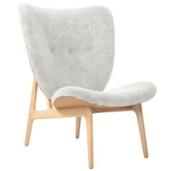 Armchair Elephant | Sheepskin Seat | Natural Frame | White