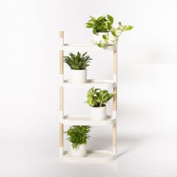 Recycled Plant stand with trays | White