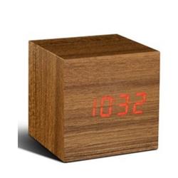 Cube Click Clock | Teak & Red