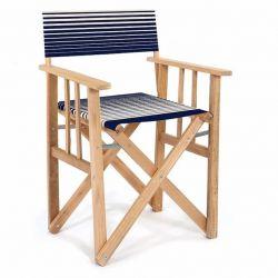 Director Chair Striped | Gradient Blue/Natural Tissue