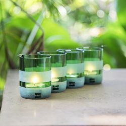 Set of 4 Tealight Holders with Tealights | Green
