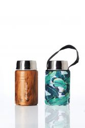Lunch Container Foodie & Carry Cover | Woodgrain & Banana Leaf